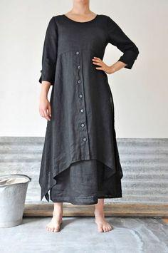 Lagenlook charcoal linen dress and skirt Look Fashion, Womens Fashion, Fashion Design, Trendy Fashion, Gothic Fashion, Fashion Clothes, Mode Hippie, Estilo Hippie, Mode Hijab