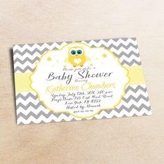 Baby Shower Invitation /Yellow Grey OWL Baby Shower invitation 5