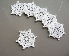 6 Crochet Snowflake Ornaments -- Medium Snowflake T9, in White