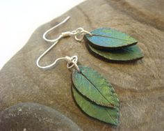 Blue and Green Leaf Earrings - Sterling Silver and Polymer Clay