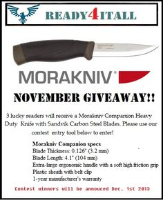 Want to win a free Mora knife?  Go to http://ready4itall.org/november-giveaway/