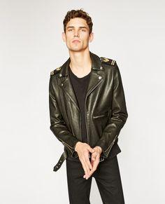 Black leather military biker jacket -  MAN
