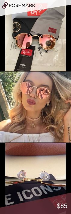 43609bb38d Ray Ban Sunglasses Round Pink   Copper Comes with case