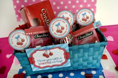 I LOVE YOU WITH A CHERRY ON TOP gift basket   Printable Cherry Gift Tags from Darling Doodles