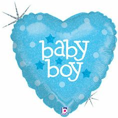 IT'S a BOY Polka DOTS Dot Heart Shaped Blue BABY Shower Party Mylar Balloon