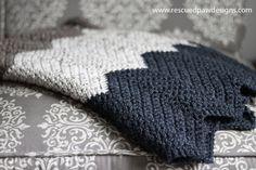 Chevron Crochet Blanket Pattern by Rescued Paw Designs