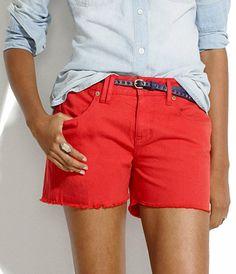 Denim cutoff shorts in scarborough red