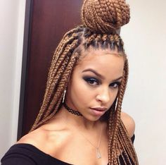 Box Briads Single Plaits Extensions Bun Back Leave Out Brown Blonde Colour Pretty Girl Swag Dope Hair Style Hairstyle AssataJoness