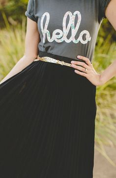 graphic tee and pleated maxi skirt // @frances vintage @Kym Ventola @Hello Apparel
