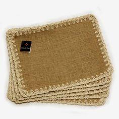 Jogo Americano, 6 peças , em juta e crochê com barbante.   medidas 40 x 30 cm   Compre Aqui!