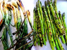 Farmers-market-fresh asparagus and sweet knobby onions ... to keep the steak company!