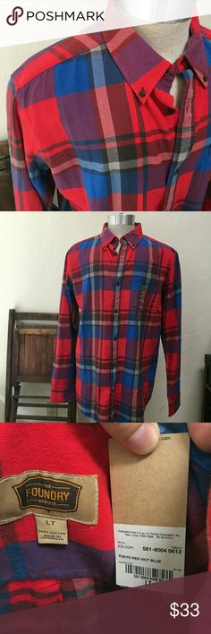 Foundry plaid Large Tall long sleeve shirt NWT long sleeve shirt.  Warm feel, bright color, great combo. Shirts Casual Button Down Shirts