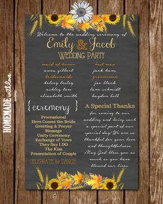 Autumn Sunflower  Printable Wedding Program by HomemadeWithLoveWed, $10.00