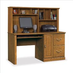 Orchard Hills 2 Drawer Computer Desk w Hutch in Oak Finish at http://suliaszone.com/orchard-hills-2-drawer-computer-desk-w-hutch-in-oak-finish/