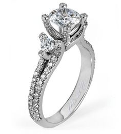 From Michael M. Collection Michael M Handcrafted u -set three stone diamond ring