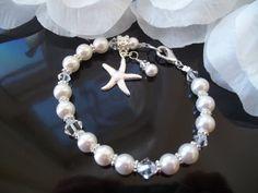 Bridal Bridesmaid Bracelet,Swarovski Pearls Crystal, Silver Starfish Charm,Crystal Pearl Starfish Bracelet, Beach Nautical Wedding Bracelet on Etsy, $24.99