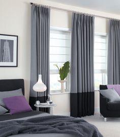 grey triple window treatments - Google Search