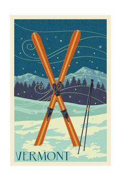 Vermont - Crossed Skis - Letterpress Art Print