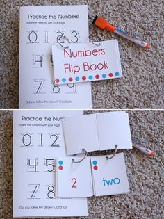 Printable numbers flip book and practice book. This makes a quick and easy busy bag!