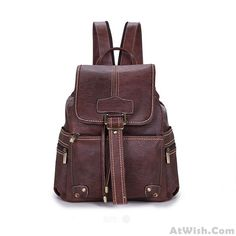 Wow~ Awesome British Style Retro Clamshell Drawstring Zipper Straps Solid College Backpack ! It only $40.99 at www.AtWish.com! I like it so much<3<3!