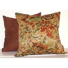 Fire Floral Rustic Red 16-inch Square Decorative Pillows (Set of 2) | Overstock.com Shopping - Great Deals on RLF HOME Throw Pillows