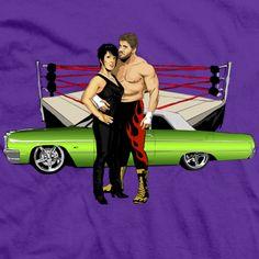Eddie & Vickie Guerrero t-shirt! Vickie Guerrero, Eddie Guerrero, Wwe Female Wrestlers, Wwe Womens, Professional Wrestling, Wwe Superstars, Legends, Men's Fashion, The Incredibles
