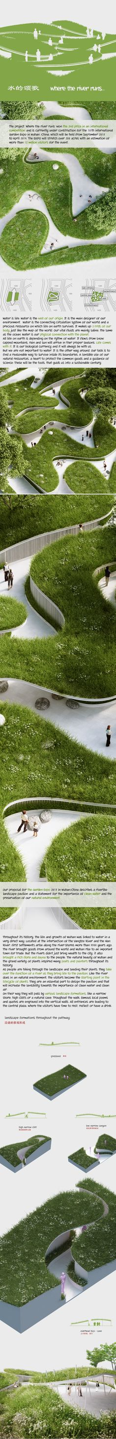 Our proposal for the Garden Expo 2015 in Wuhan/China describes a river-like landscape pavilion and a statement for the importance of clean water and the preservation of our natural environment. The project 'Where the river runs' won the 2nd price in an in…