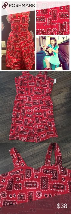 "Nwts szL RED rockabilly RoMpEr ❤️🍒 New with tags attached rockabilly red bandanna print size L  chest is 38"" waist is 32"" hips are 38"" there is elastic in back for more stretch in chest area.  The entire fabric has a slight stretch.   Has pockets.  The shorts are not really short.  Measures 36"" down from waist area.  🍒 Dresses"