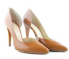 Pantofi stiletto decupati maro - Etienne