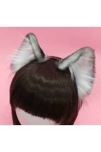 Ash Colored Realistic Cat Ears (White Velvet) Airbrushed)