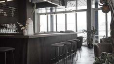 Norm Architects completes warm and tactile interior for Copenhagen restaurant Wood Interior Design, Gray Interior, Farmhouse Interior, Interior Doors, Copenhagen Restaurants, Wood Cafe, Industrial Dining Chairs, Contemporary Building, Restaurant Concept