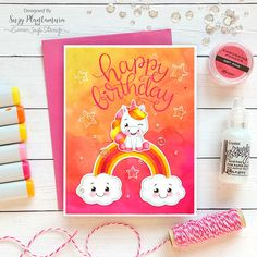happy birthday 1 - Suzy Plantamura Colored Paper, Colored Pencils, Cloud Stencil, Rainbow Card, Love Stamps, Cactus Flower, Easy Paintings, Happy Birthday Cards, My Stamp