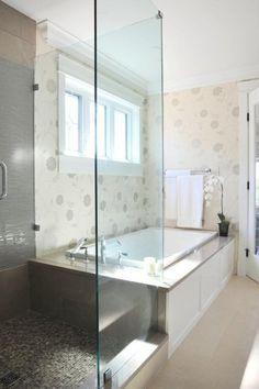 Bathroom Cool Transitional Bathroom Interior Featured With Fixtured Porcelain And Glass Shower Space Decorated With Tiles With Master Bathroom Floor Plans Innovative Master Bathroom Floor Plans