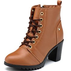 019502b6daf933 Women s Shoes Leather Chunky Heel Heels   Motorcycle Boots Boots Office    Career   Casual Black   Brown