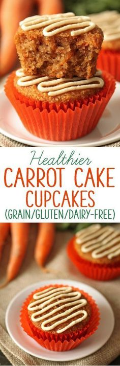 These gluten-free and grain-free carrot cake cupcakes have the. These gluten-free and grain-free carrot cake cupcakes have the best fluffy texture! Naturally sweetened and with a paleo and dairy-free option. Gluten Free Muffins, Gluten Free Sweets, Gluten Free Cakes, Healthy Sweets, Gluten Free Recipes, Gluten Free Carrot Cake, Sugar Free Carrot Cake, Scd Recipes, Flour Recipes