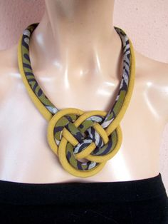 Josephine knot hand dyed batik fabric bib necklace  by nad205, $29.00