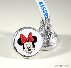 Minnie Mouse Cartoon Hershey Kiss Stickers by LabelsandStickers