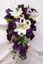 42 Ideas Wedding Bouquets Pink Purple Calla Lilies For 2019 Purple Wedding Bouquets, White Wedding Flowers, Bride Bouquets, Flower Bouquet Wedding, White Flowers, Flower Bouquets, Purple Wedding Flower Arrangements, Floral Arrangements, Purple And Green Wedding