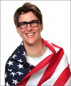 "Rachel Maddow wears America's flag. Rachel Anne Maddow is an American television host, political commentator, and author. She hosts a nightly television show, The Rachel Maddow Show, on MSNBC. Her syndicated talk radio program of the same name aired on Air America Radio. Dr. Maddow, a Rhodes scholar and graduate of Stanford and Oxford Universities Favorite Quote: ""I'm undoubtedly a liberal, which means that I'm in almost total agreement with the Eisenhower-era Republican party platform."""