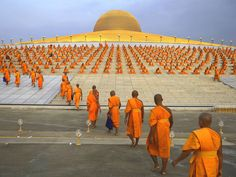 """Buddhist monks going for prayer at the wat phra Dhammakaya temple in North Bangok on macha bucha day - Damir Sagoli Enjoying the colours """