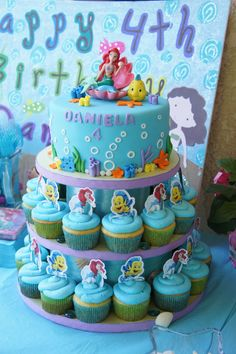 Inspiration Image of Ariel Birthday Cake Decorations . Ariel Birthday Cake Decorations About Ideas Little Mermaid Cakes Classic Style Professional Little Mermaid Birthday Cake, Little Mermaid Cakes, Little Mermaid Parties, Mermaid Cupcakes, The Little Mermaid, Girl Birthday, Party Cupcakes, Birthday Ideas