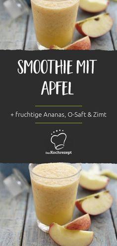 Apfel-Fans aufgepasst: Diesen Smoothie mit Apfel musst du auf jeden Fall probieren! Zum Apfel gesellen sich fruchtige Ananas und Orangensaft. Das Getränk wird mit ein wenig Zimt abgeschmeckt – köstlich! #smoothie #saft #mix #mischung #daskochrezept #smoothie #apfel #ananas #orangensaft #zimt Smoothie Bowl, Smoothies, Healthy Recipes, Healthy Food, Cantaloupe, Yummy Food, Fruit, Coffee, Shake