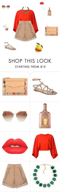 """Beige and red"" by mariagraziatrotta ❤ liked on Polyvore featuring Fendi, Valentino, Tom Ford, Lime Crime, STELLA McCARTNEY and self-portrait"