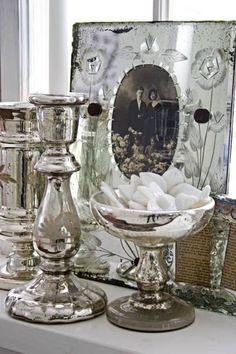 mercury glass + vintage photos