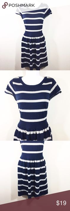 Fit and Flare Striped Short Sleeve Sweater Dress Perfect for fall and winter! Fit and flare short sleeve sweater dress. Navy with skinny white stripes A. Byer Dresses Midi