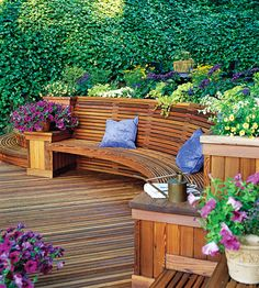 Built-in Bench perfect for where the retaining wall is going to hold up the hill near the aspen trees.