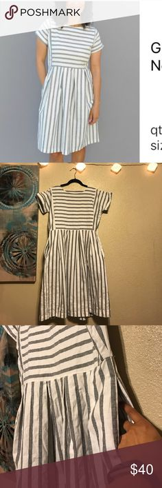 👗gorgeous spring dress 👗 White n gray dress!!! 💯% cotton!!! Washed once and hung dried! I lost weight and can't fit this beauty anymore 🤦🏽♀️. I purchased this off Zulily. Love this dress 😭 but it could be yours for the low! Did I mention this dress has POCKETS!!!! Woot woot!!! journey Five  Dresses Midi