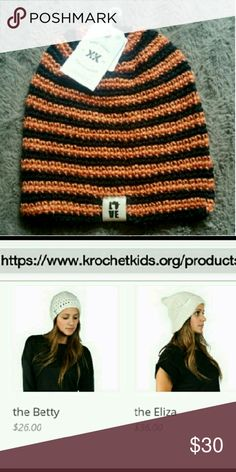 KrochetKids beanie New with tags  **this one now available online anymore**  Its black and orange and SUUUPER SOFT  I took screen shots of there website to show you what prices there beeenies usually are :) KrochetKids Accessories Hats