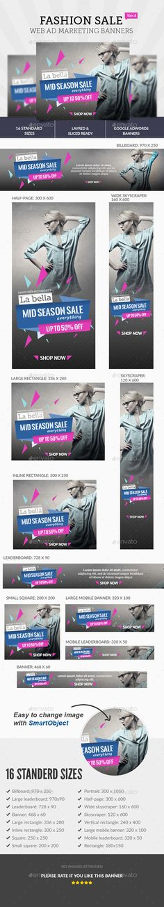 Fashion Sale Ad Web Banners Template PSD #design #ads Download: http://graphicriver.net/item/-fashion-sale-ad-banners-/13243466?ref=ksioks