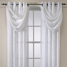 Cosmo Embroidered Grommet Window Curtain Panels with Waterfall Valance - Bed Bath & Beyond